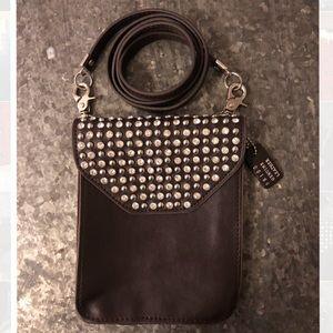 NWOT Genuine Leather Crossbody Bag w/ Rhinestones